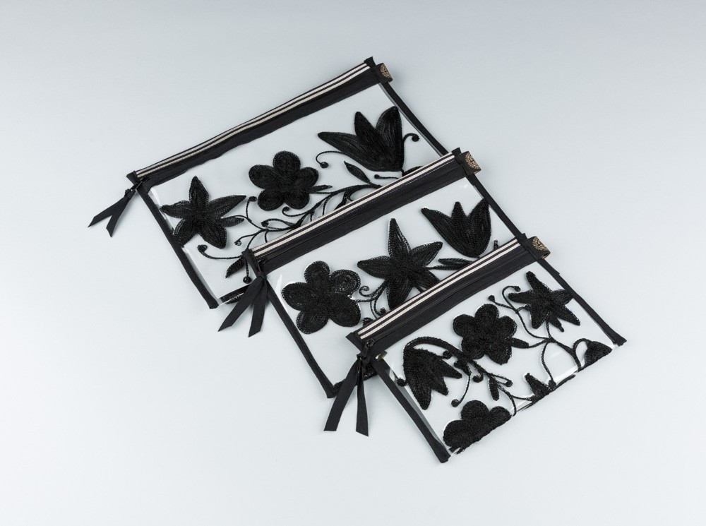 Black Embroidered Flowers Plastic Pouch