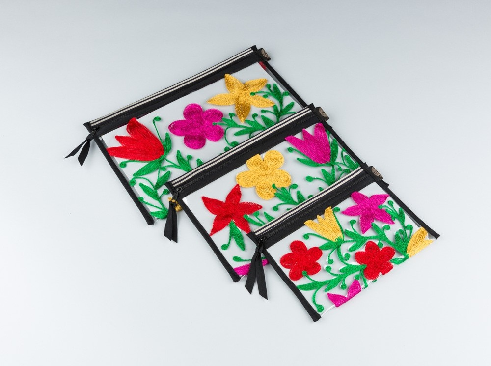 Pink Embroidered Flowers Plastic Pouch