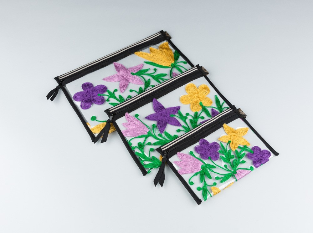 Purple Embroidered Flowers Plastic Pouch