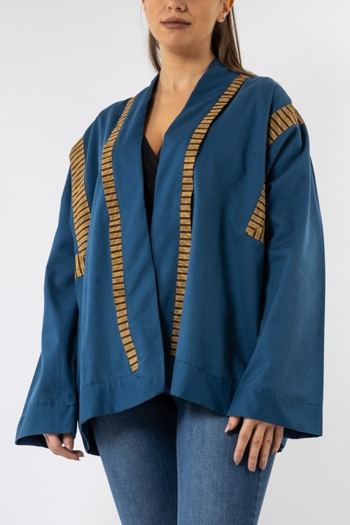 Cotton Jacket in Sayeh with Angular Sleeves