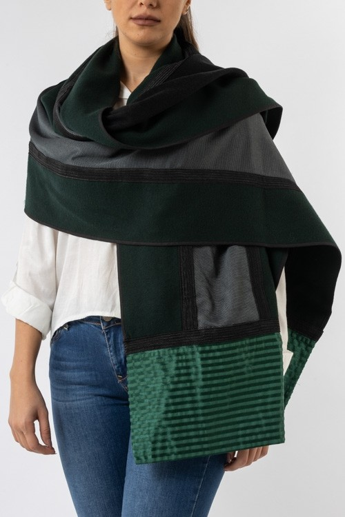 Double Sided Wool Shawl with Sayeh Edges