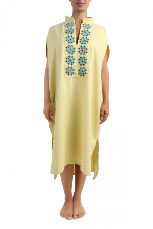 Interior Dress Linen with Palestinian Embroidery on Collar
