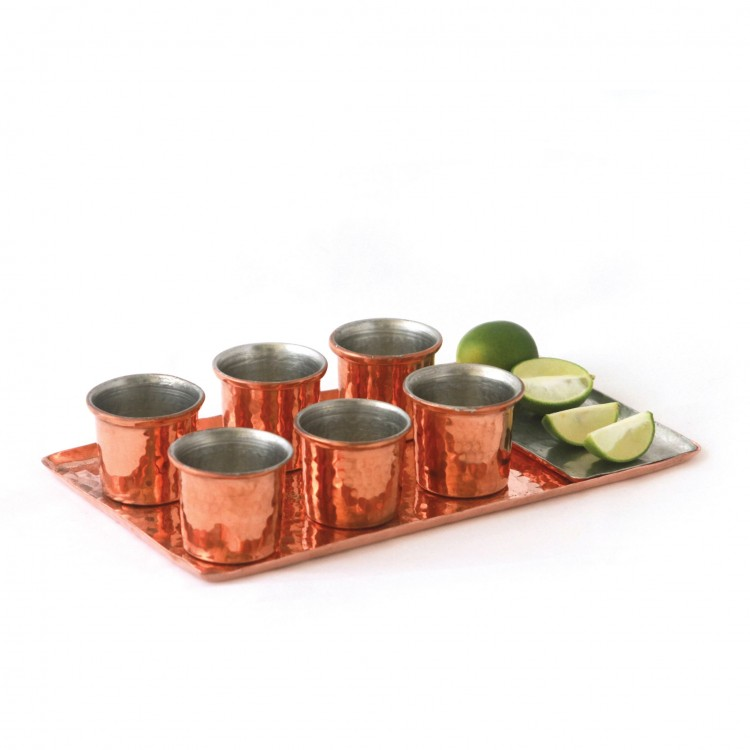 Tray with 6 Shots and small plate in Copper