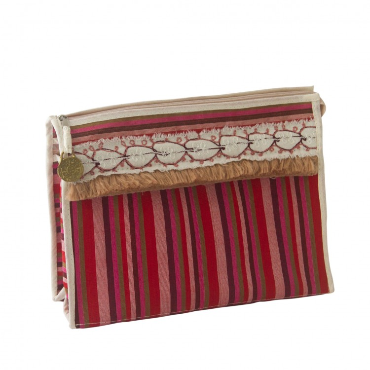 Pouch in Sayeh Fabric with Fringe and Embroidery