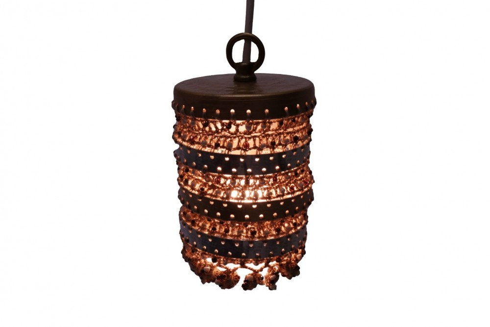 Lantern in Aluminum and Crochet with Beads