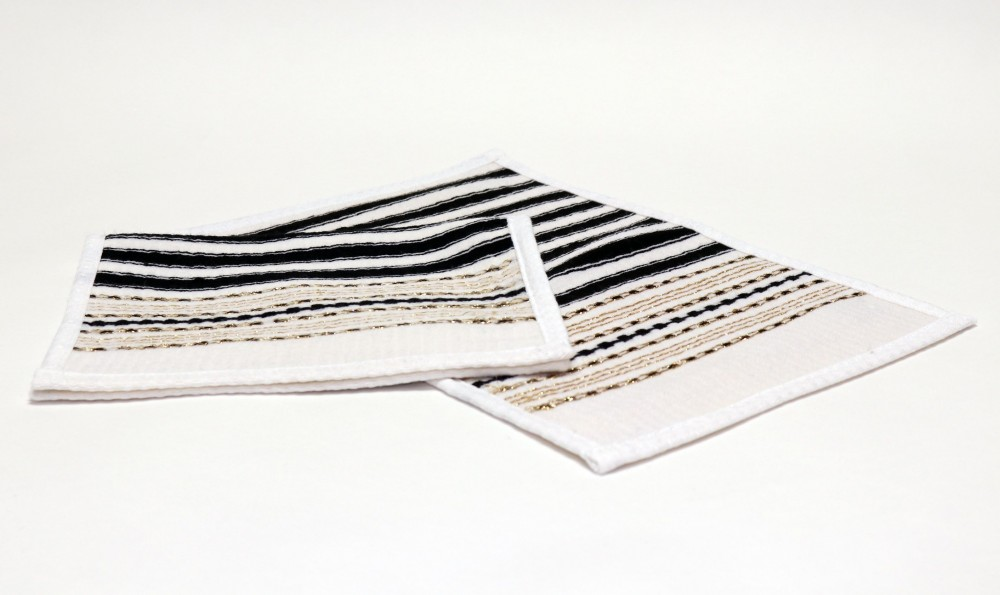 White Towel with Black and Gold Stripes 26x42 cm