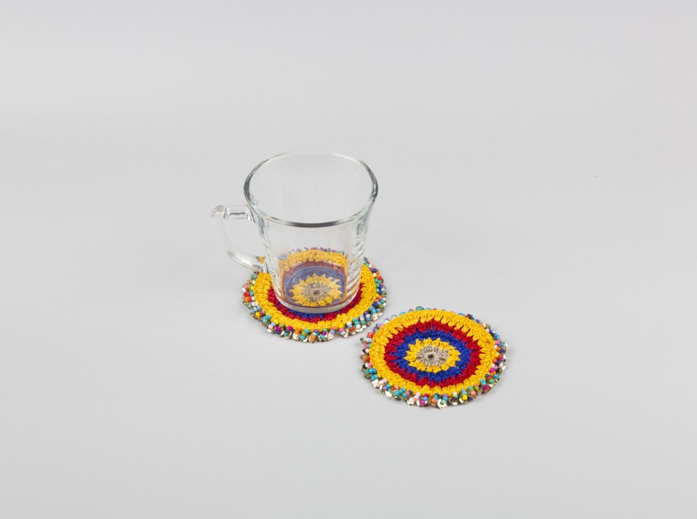 Colored Coaster with Beaded Trim