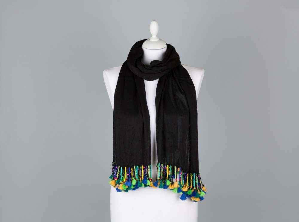 Black Shawl with Colored Beads