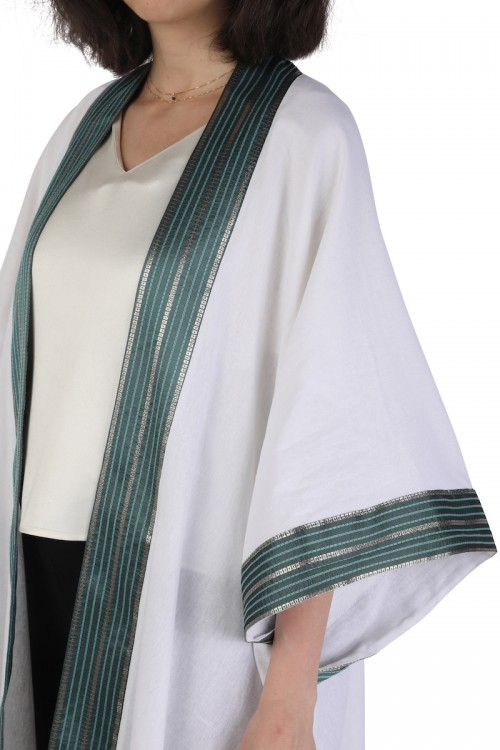 White Linen Abaya with Turquoise Silk