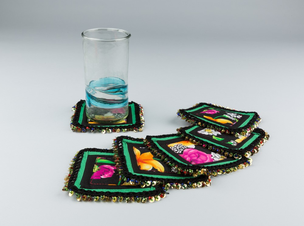 Floral Coaster with Sequins