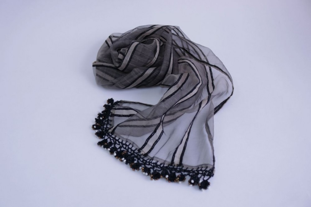 Striped Silk Scarf with Crochet and Pearls