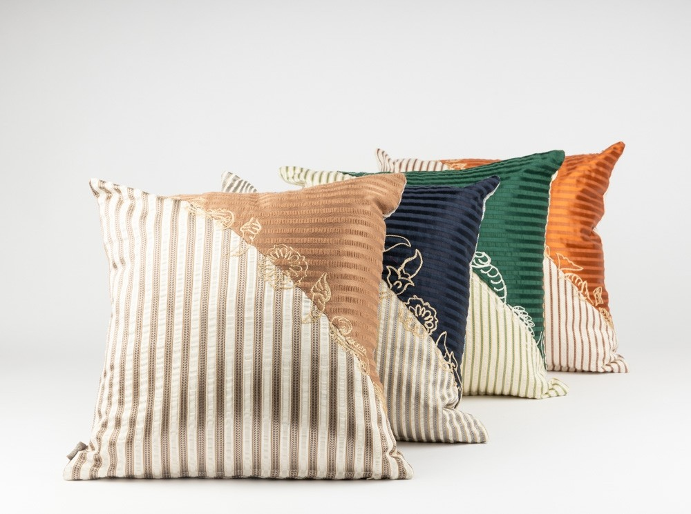 Sayeh Cushion with Diagonal Aghabani Embroidery