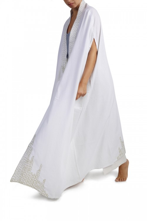 White Linen Abaya Colored Threads Aghabani Embroidery