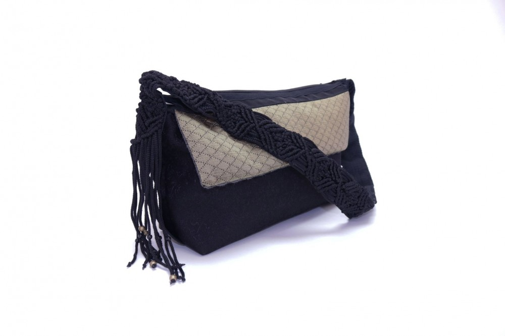 Silk  Handbag with Flap and Shoulder Strap in Macramé