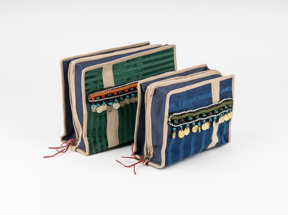 Double-Compartment Sayeh Pouch with Sequins