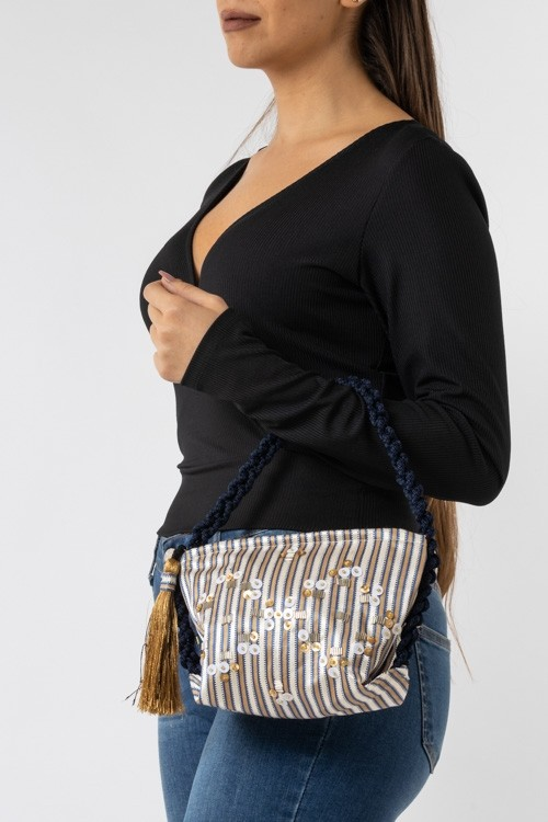 Bag with Sequins and Cord Handle