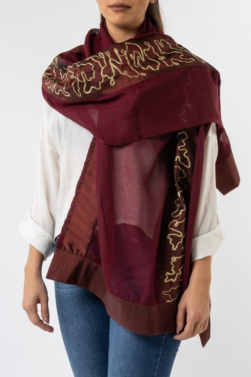 Najaf Scarf with Embroidered Aghabani