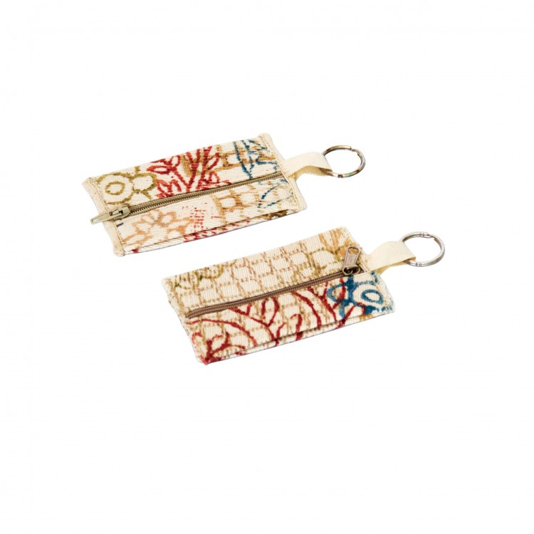 Purse/Key Chain in Block Printed Canvas