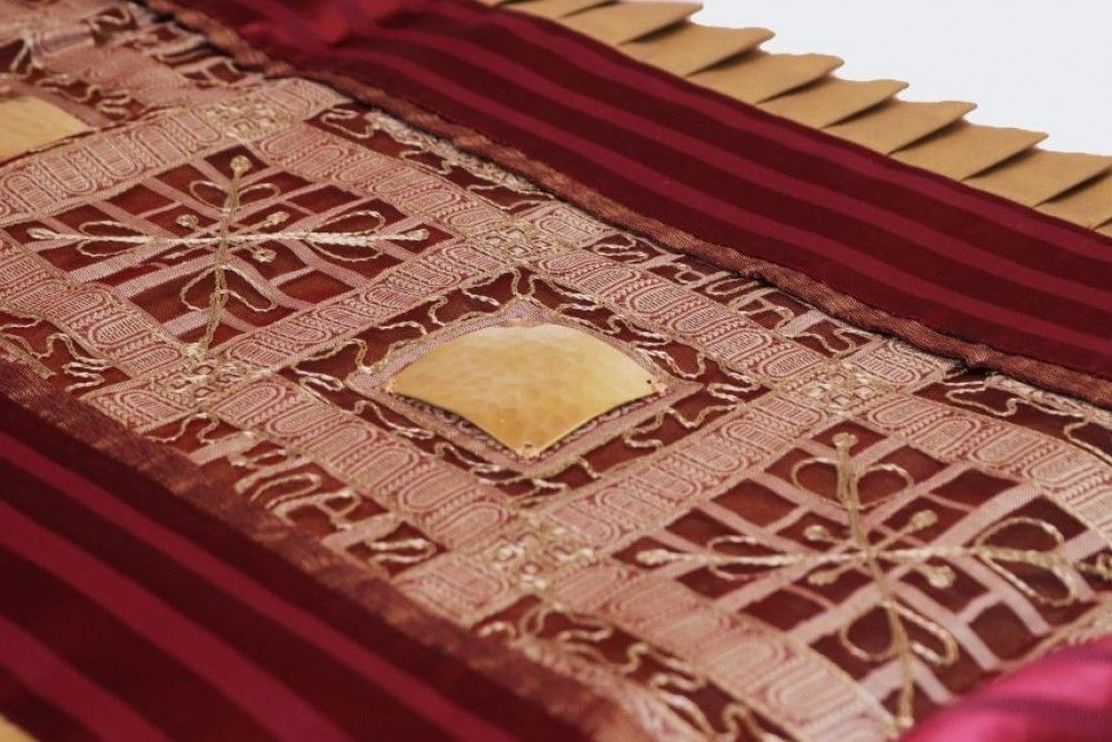 Sheer Fabric Runner with Brass Elements and Pleated Taffeta