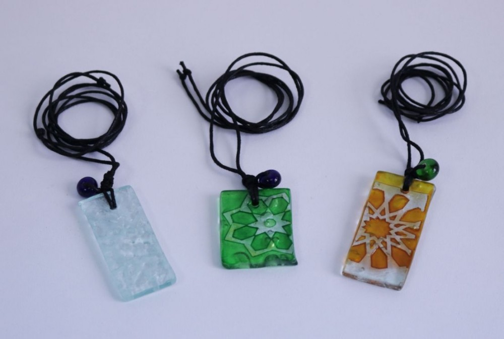 Necklace with Colorful Glass Pendant
