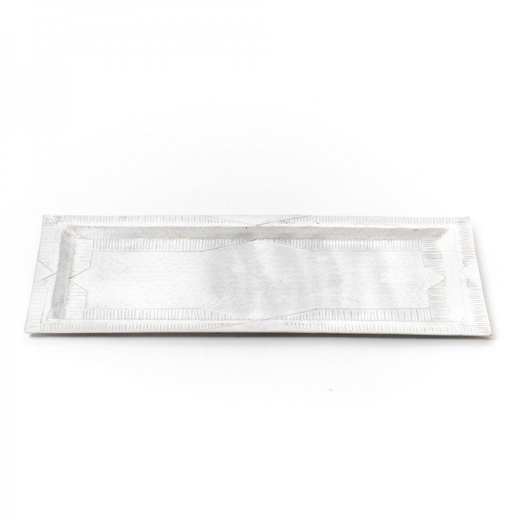 Stripped Engraved Rectangular Aluminum Tray
