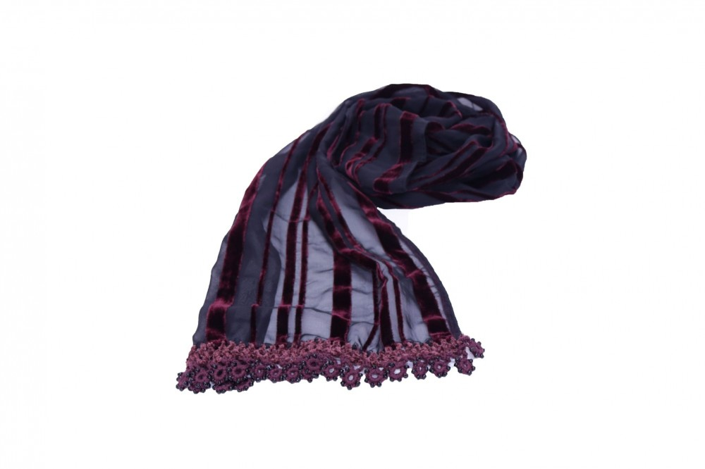 Striped Scarf Burgundy with Velvet Crochet and Beads