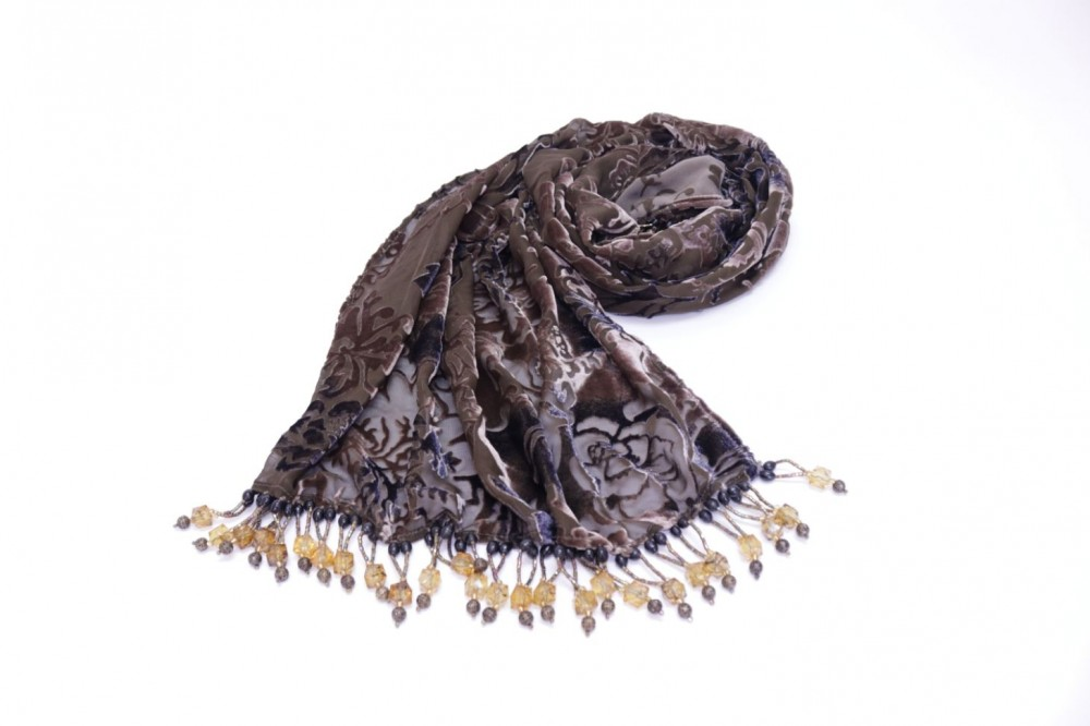 Velvet Embroidered Scarf Brown with Beads