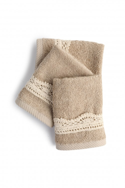Towel Greige with Crocheted Strip