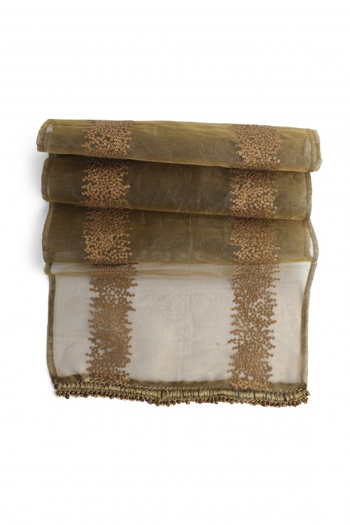 Golden Sheer Scarf with Sequins
