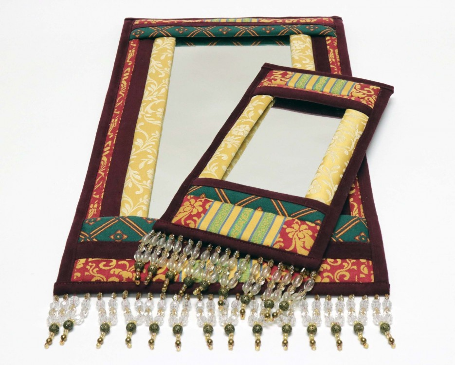 Patchwork Wall Mirror with Beads
