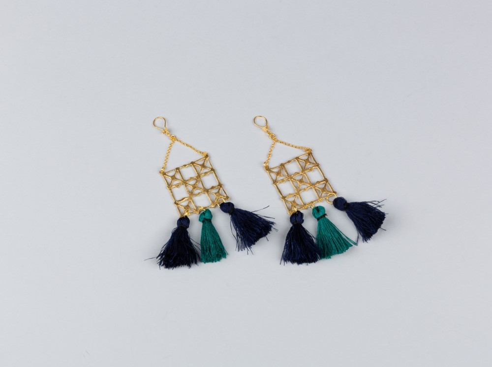Ghajari Earrings with Pompoms