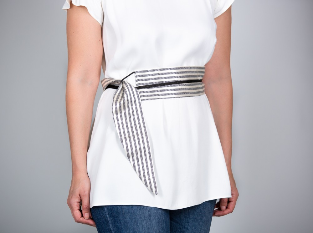 Black and White Stripped Sayeh Belt