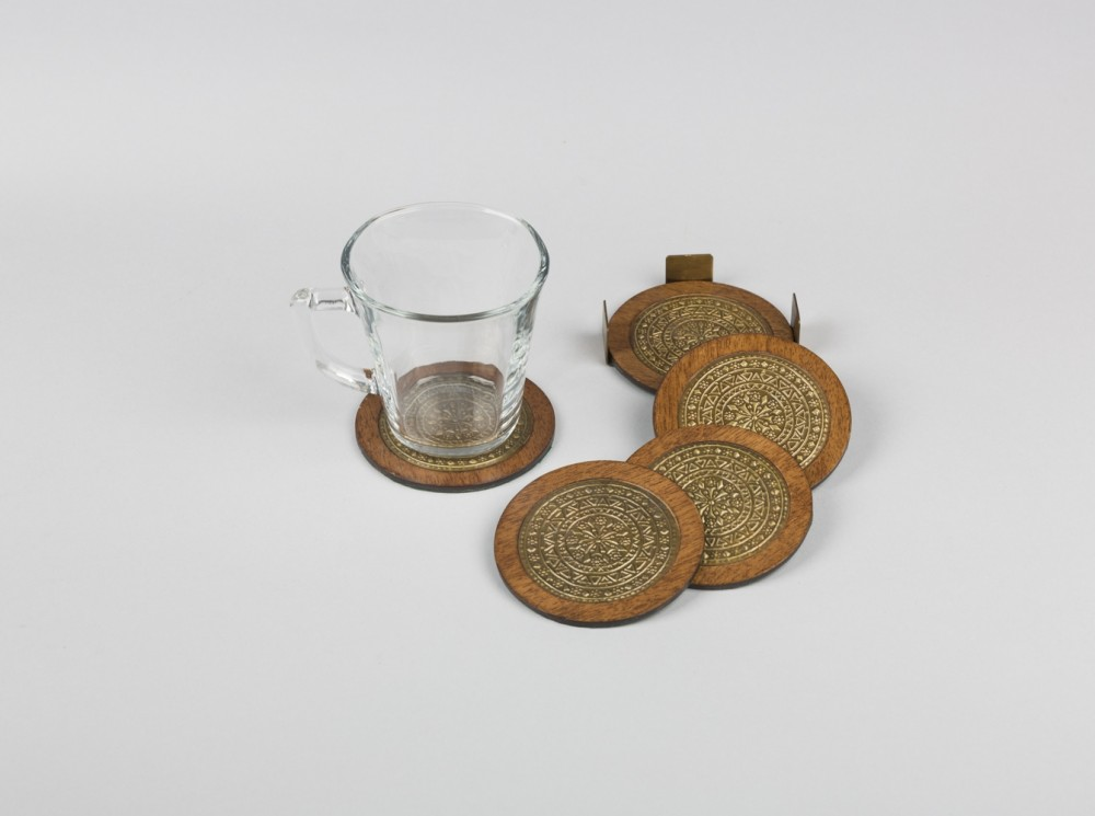 Wooden Coasters with Brass Top Set of Six