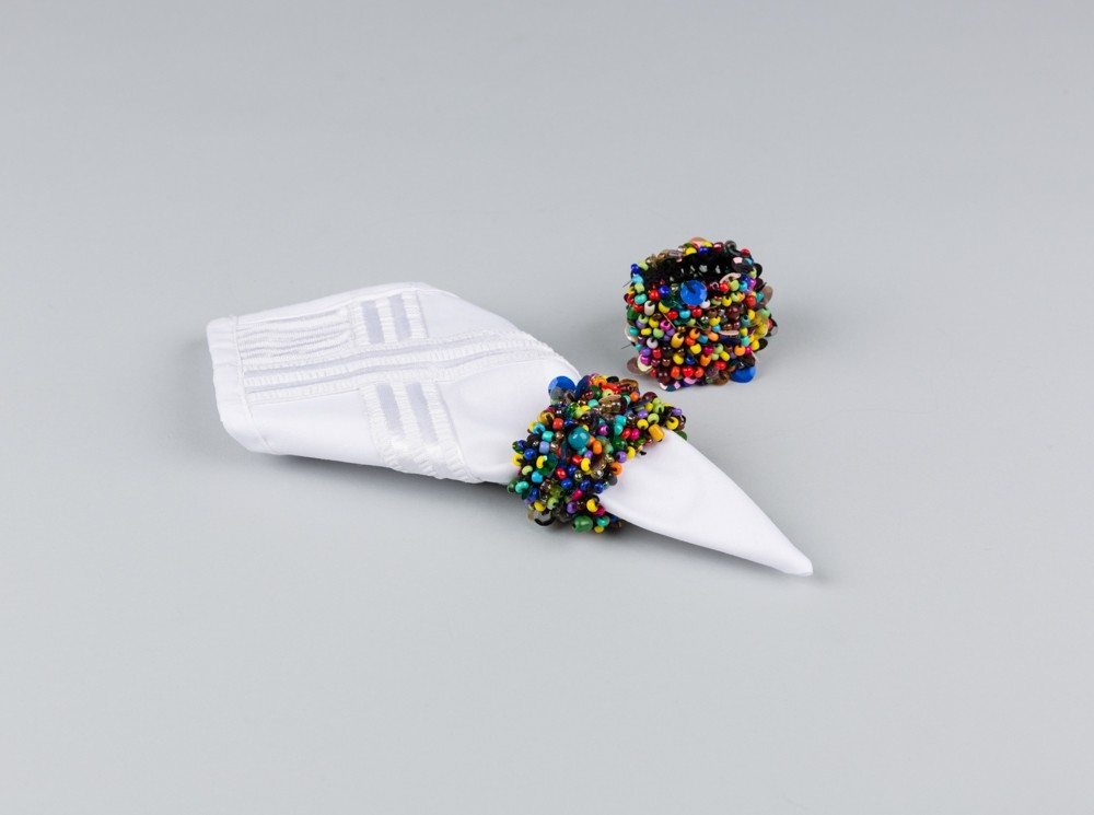 Colorful Beaded Napkin Rings Set of Six
