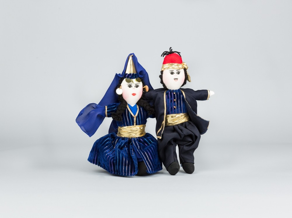 Large Blue Folkloric Dolls