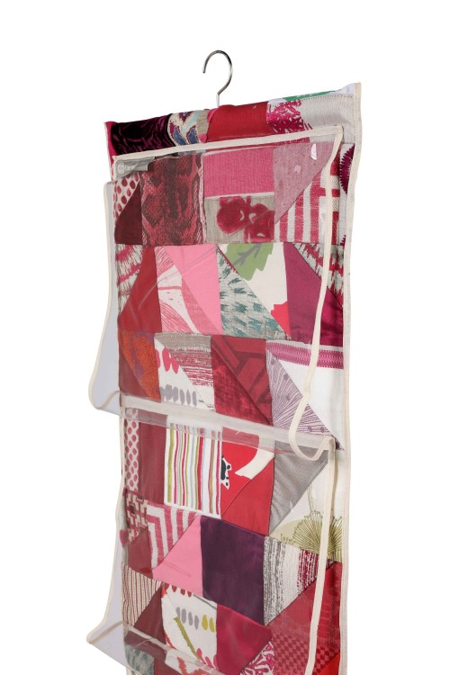 Shoe and Bag Storage Hanger in Patchwork Fabrics