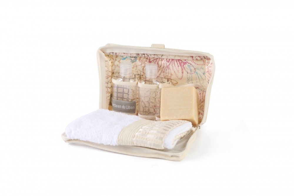 Sanitizer Canvas Pouch with Block Printing Containing Soap and Towel
