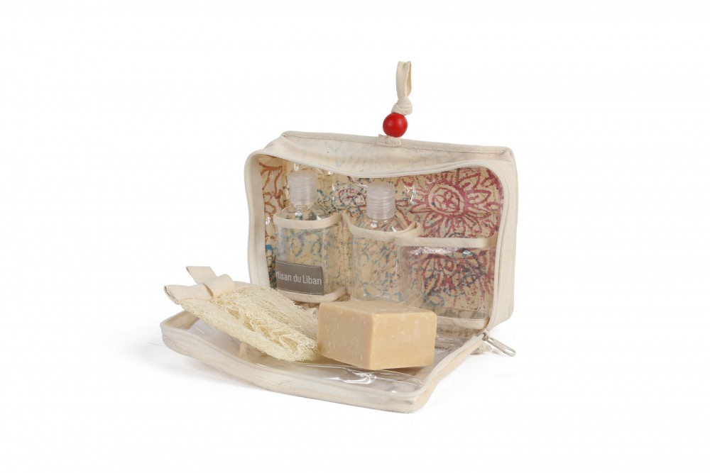 Sanitizer Canvas Pouch with Block Printing Containing Soap and Sponge
