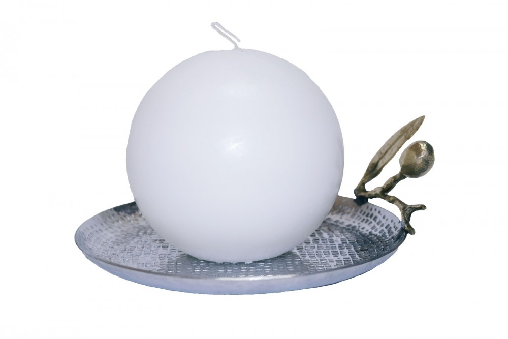 Sphere Candle with Olive Plate